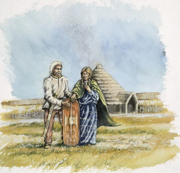 OLD SARUM, Wiltshire. Reconstruction drawing of an Iron Age man and woman with a Round House in the background, by Peter Dunn (English Heritage Graphics Team)