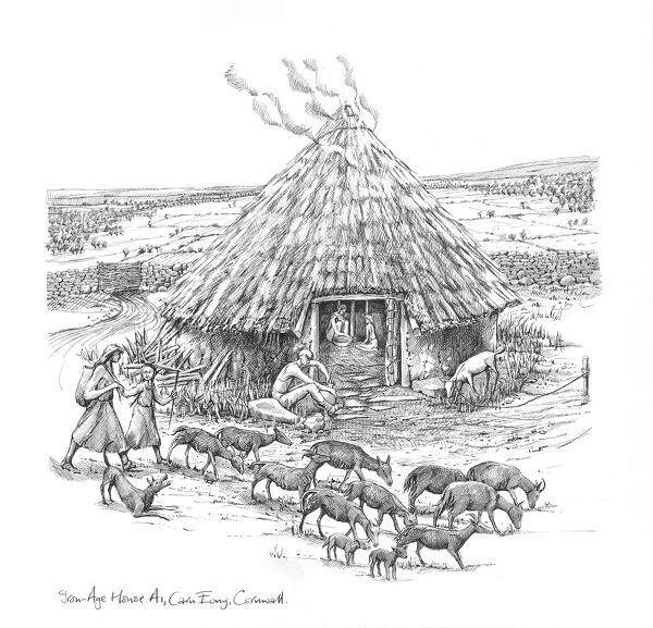 CARN EUNY ANCIENT VILLAGE, Cornwall. Reconstruction drawing showing farmers and a herd of goats outside a roundhouse by Judith Dobie, English Heritage Graphics Team