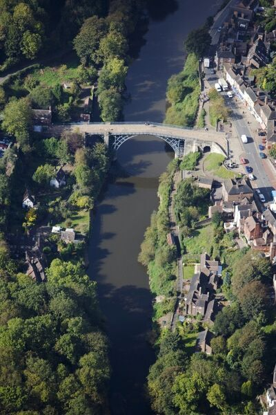 IRON BRIDGE, Telford, Shropshire. Aerial view of the bridge and gorge
