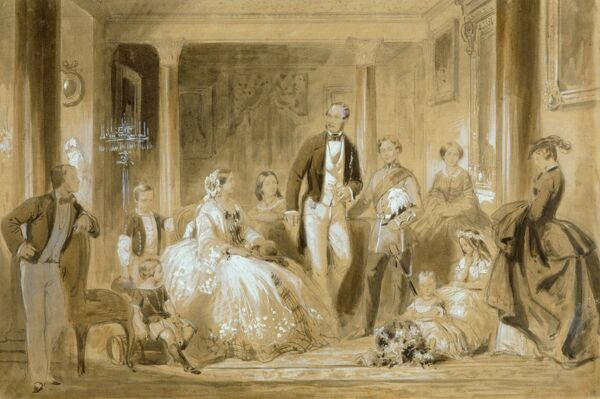 "OSBORNE HOUSE, Isle of Wight. ""Royal Family in the Dining Room at Osborne House"" by Ange-Lois Janet. Queen Victoria and Prince Albert"