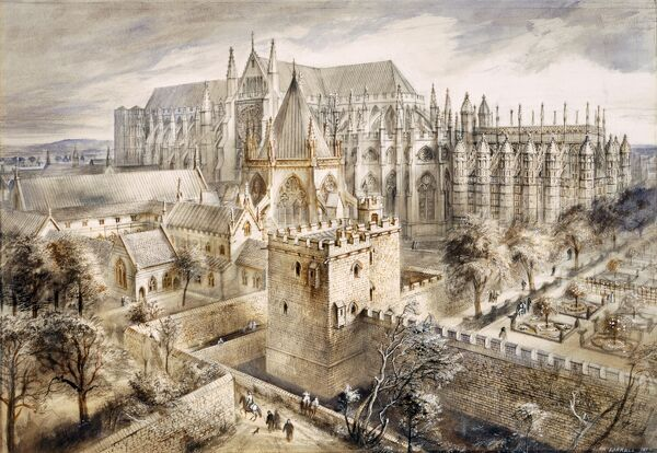 JEWEL TOWER, Westminster, London. Middle Ages reconstruction drawing by Alan Sorrell. Jewel Tower in the foreground and Westminster Abbey in the distance. The Jewel Tower, or 'King's Privy Wardrobe', was built c.1365 to house Edward III's treasures