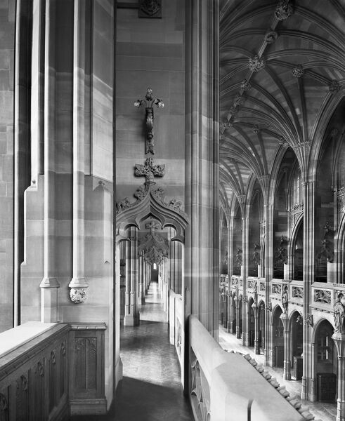 JOHN RYLANDS LIBRARY, Manchester. Interior view along one of the gallery corridors at clerestorey level. Photographed by Bedford Lemere in 1900