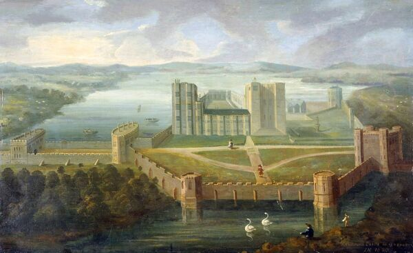 KENILWORTH CASTLE, Warwickshire. 18/19th century copy of a fresco painting dated 1620, featuring Kenilworth Castle