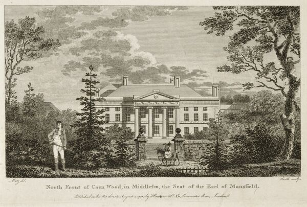 KENWOOD HOUSE, London. Exterior view. Engraving of the North front of Kenwood House, 1788. Heath after Metz. Caen Wood