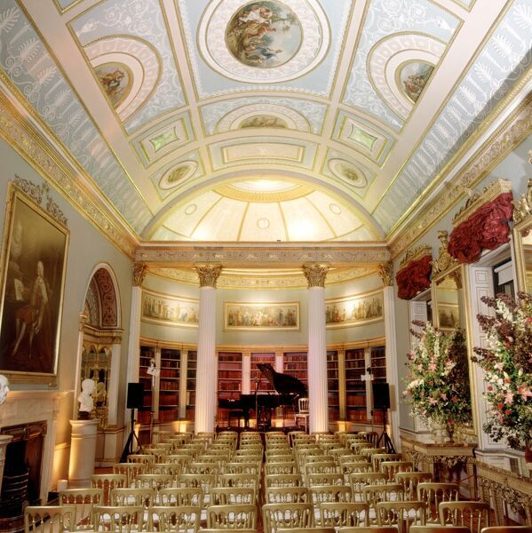 KENWOOD HOUSE, London. Interior view of the Library (Great Room) laid out for a music recital in 1999
