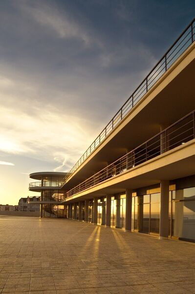 DE LA WARR PAVILION, Bexhill on Sea, East Sussex. Exterior view taken from the south east. Late afternoon sunshine reflecting in the glass