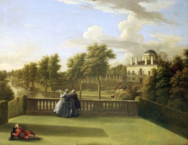 "CHISWICK HOUSE, London. ""View from the Cascade Terrace Chiswick"" by George LAMBERT (1700-65) and William HOGARTH (attributed) (1697-1764)"