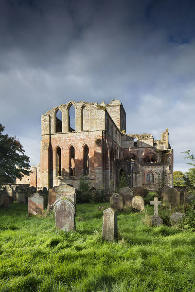 Lanercost Priory, Lanercost, near Brampton, Cumbria. Priory east end from graveyard. View from east