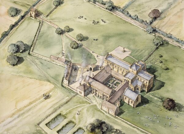 LANERCOST PRIORY, Cumbria. Aerial view reconstruction drawing of the pre dissolution priory by Peter Dunn (English Heritage Graphics Team)
