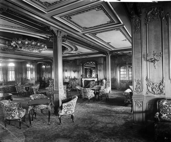 Looking forward in the lounge, RMS Olympic, White Star Line, 1920-21