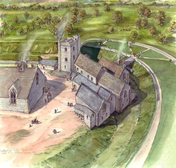 LUDGERSHALL CASTLE AND CROSS, Wiltshire. Aerial view reconstruction drawing of the castle during period 7B, the late 14th century, by Peter Dunn (English Heritage Graphics Team)