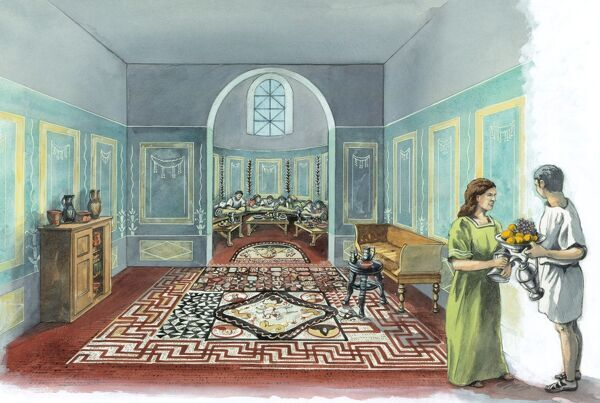 LULLINGSTONE ROMAN VILLA, Kent. Cutaway reconstruction drawing of interior by Peter Dunn (English Heritage Graphics Team)