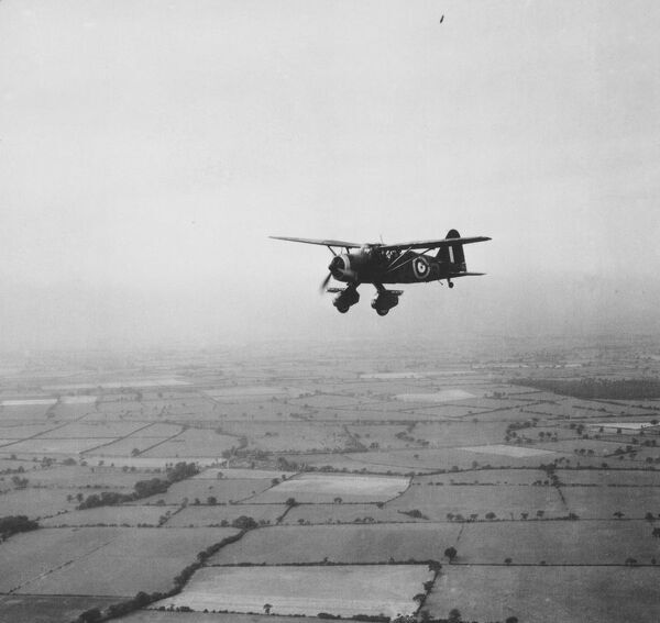 A Westland Lysander in flight near York. Photographed by the RAF in August 1940
