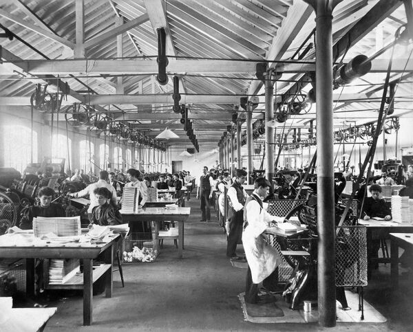 LAMSON PARAGON SUPPLY CO LTD, Canning Town, London. Interior of the Machine Room with workers in action. Photographed for the proprietors by Bedford Lemere in 1896