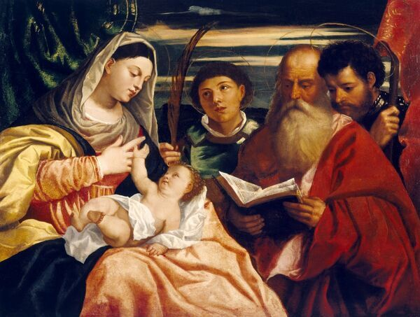 CHISWICK HOUSE, London. 'Madonna and Child with Saints Stephen, Jerome and Maurice' after TITIAN (c1485-1576)
