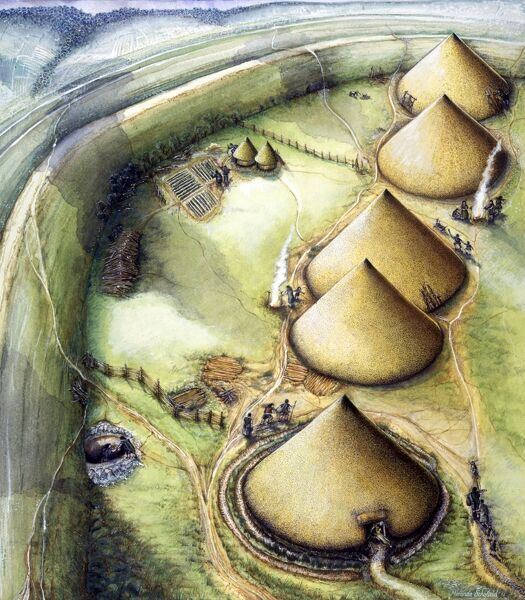 MAIDEN CASTLE, Dorset. Reconstruction drawing by Miranda Schofield (English Heritage Graphics Team) showing round thatched houses in iron age settlement