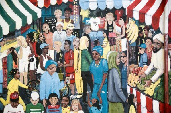 Detail of painted wall mural, by Gloria Ojulari Sule, showing busy multi ethnic market scene. Grosvenor Road, St Paul's, Bristol. Mural, March 1999. Photograph, October 2007