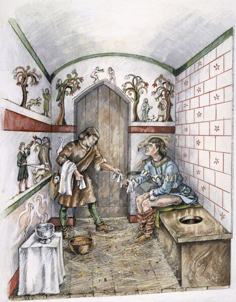 OLD SARUM, Wiltshire. A latrine interior in c.1350. Reconstruction drawing by Peter Dunn, English Heritage Graphics Team