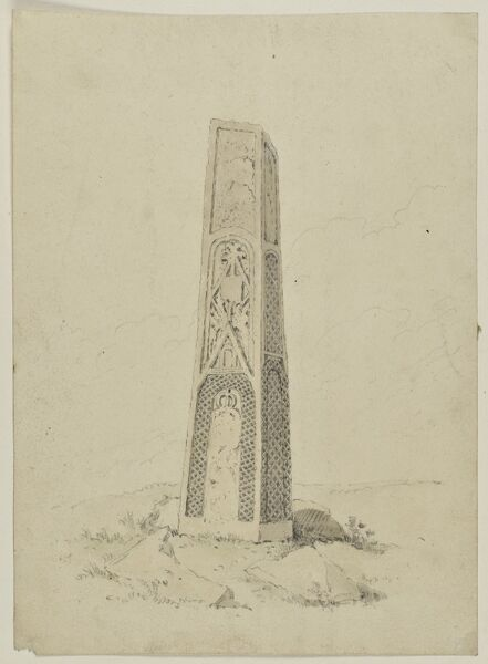Mercian Cross, St Mary And St John's Church, Rothley, Leicestershire. Watercolour painting possibly by William Alexander (d.1815) showing the Mercian cross shaft in the churchyard. Artwork collected by C G Harper