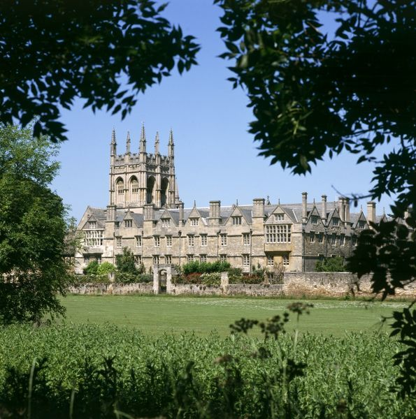 MERTON COLLEGE, Oxford. View of the college from across Merton Field