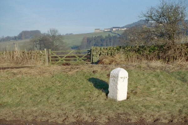 Rural scene in County Durham with milestone in foreground. IoE 111814