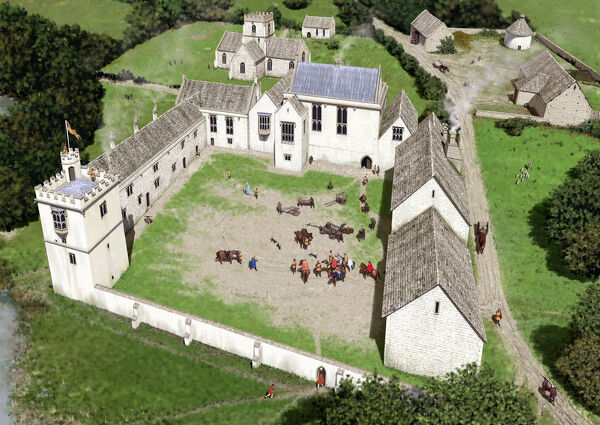 MINSTER LOVELL HALL, Oxfordshire. Reconstruction drawing showing Minster Lovell from the south, as it may have appeared in 1483 at the time of King Richard III's visit to the house as a guest of Francis Lovell. Artist Peter Urmston (2011)