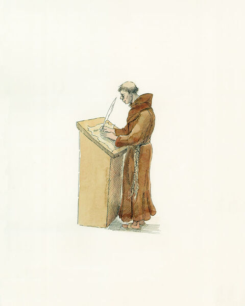 Battle Abbey and the Battle of Hastings. A reconstruction drawing, by Judith Dobie, showing a monastic chronicler c. 1066. Monk