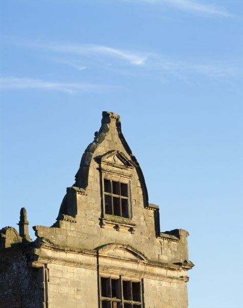 MORETON CORBET CASTLE, Shropshire. View of the North gable of the Elizabethan House