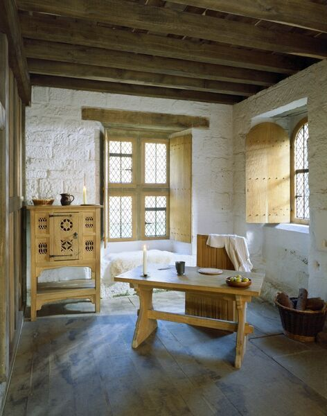 MOUNT GRACE PRIORY, North Yorkshire. Interior view of the living room of the reconstructed monk's cell (Cell 8) refurnished in 1989