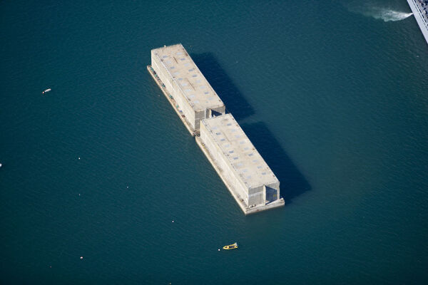 Two blocks of Mulberry Harbour, Portland Harbour, Dorset