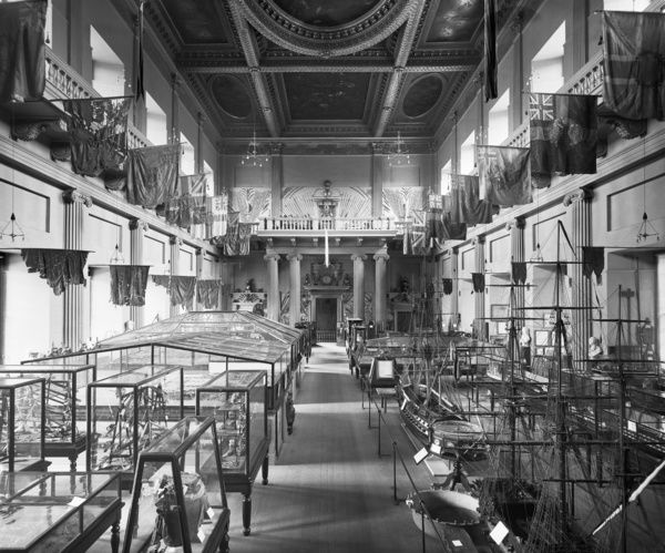 ROYAL UNITED SERVICES INSTITUTE MUSEUM, Whitehall, City of Westminster. Interior of the museum showing the display cases. Photographed by Bedford Lemere in June 1896