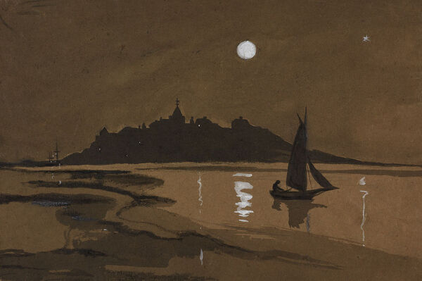 A night scene looking across the water towards the town of Rye, East Sussex, with the rooftops silhouetted against the moonlit sky. Watercolour painting by Charles George Harper. Date range: 1892-1933