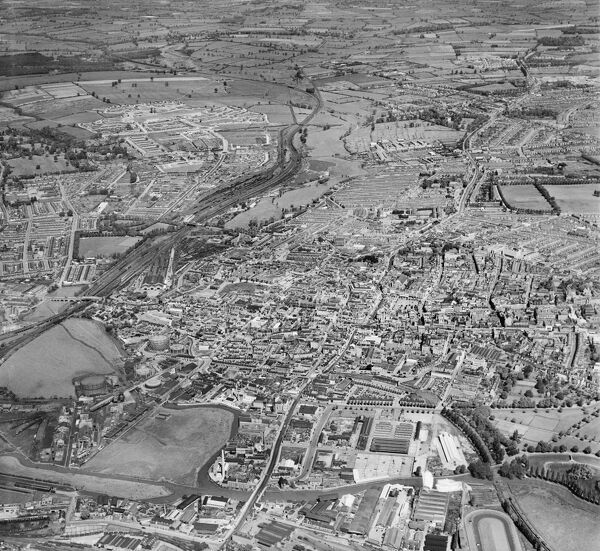 The town, Northampton. Photographed by Aerofilms Ltd in May 1952
