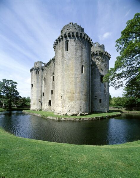 NUNNEY CASTLE, Somerset. View of 14th century, French style castle and moat