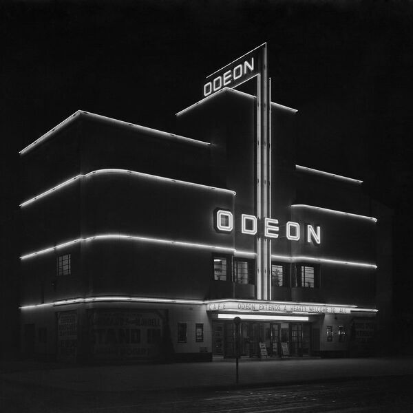 Odeon Cinema, Balham Hill, Balham, London. Exterior view at night, April 1938. Photographed by John Maltby