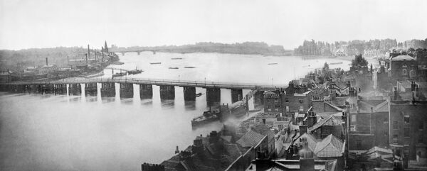 OLD BATTERSEA BRIDGE, London. The timber bridge of 1771-2, photographed here from the tower of Chelsea Old Church, was built by John Philips under the direction of Henry Holland. A new bridge was opened in 1890. Photographed circa 1860 - montage