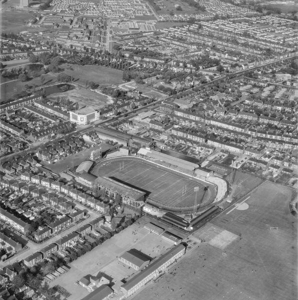 Old Craven Park, Hull. The former home of Hull Kingston Rovers Rugby League club. It was in use between 1922 and 1989. The site has been redeveloped and is now occupied by a supermarket. Photographed by Aerofilms in 1970