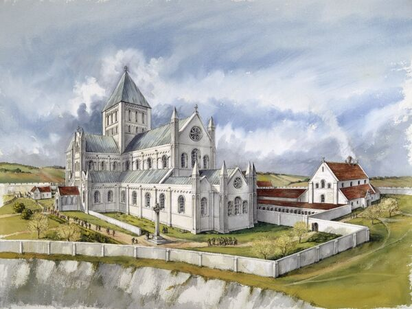 OLD SARUM, Wiltshire. Reconstruction drawing of the second cathedral in c1150, by Peter Dunn (English Heritage Graphics Team)