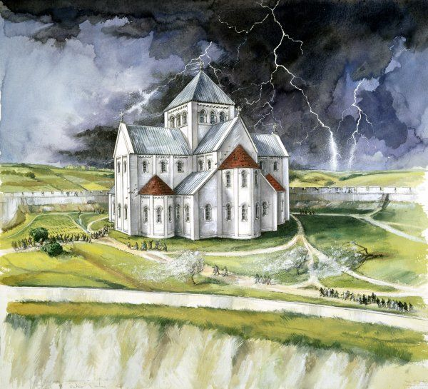 OLD SARUM, Wiltshire. A reconstruction drawing by Peter Dunn, English Heritage Graphics Team, of the first cathedral being struck by lightning in 1092