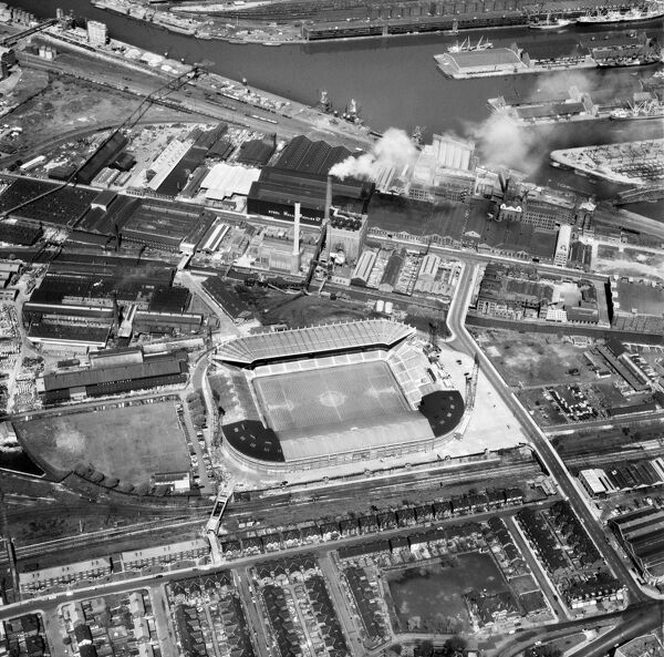 OLD TRAFFORD, Manchester. Aerial view of the home of Manchester United Football Club since 1910. Photographed in 1978. Aerofilms Collection (see Links)