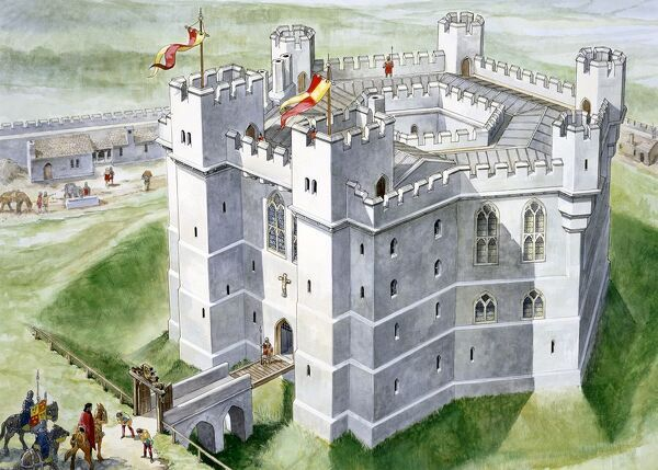 OLD WARDOUR CASTLE, Wiltshire. Aerial view reconstructon drawing of the castle as designed by Lord Lovel in the Middle Ages when it had a more warlike appearance. Drawing by Philip Corke