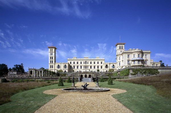 OSBORNE HOUSE, Isle of Wight. Exterior view from the North East looking along drive towards the house with fountain in the foreground