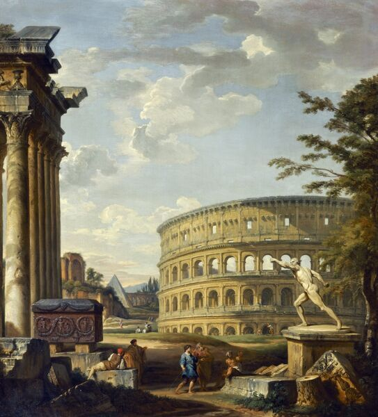 "MARBLE HILL HOUSE, Twickenham, Richmond, Middlesex. "" Landscape with the Colosseum "" 1738 by Giovanni Paolo Panini (1691/2-1765). Pannini"