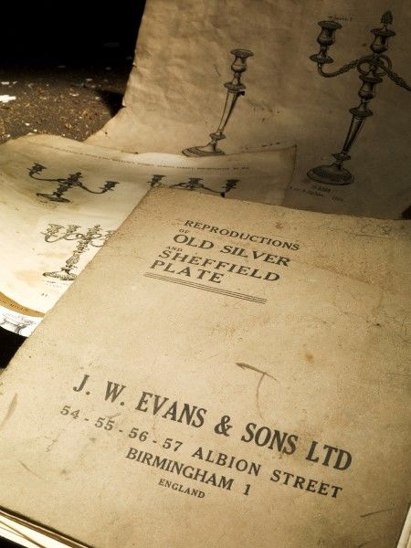J.W.EVANS, Birmingham, West Midlands. Detailed view of pattern book including pages for candlestick designs