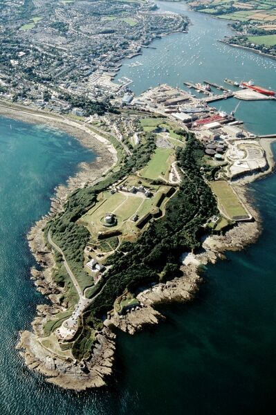 PENDENNIS CASTLE, Falmouth, Cornwall. Aerial view of castle and surrounding coastline