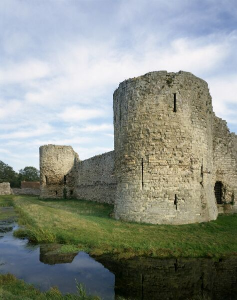 PEVENSEY CASTLE, East Sussex. The North and East towers of the Inner Bailey