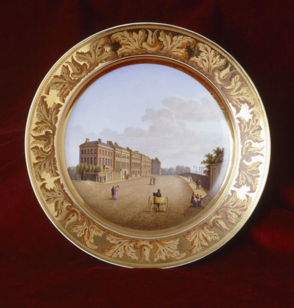 APSLEY HOUSE, London. Plate from the Berlin porcelain Prussian Service, c.1819, painted with a view of Apsley House looking East