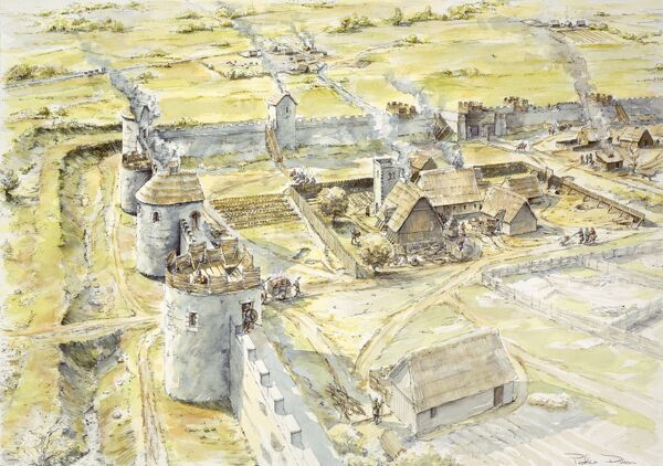 PORTCHESTER CASTLE, Hampshire. Reconstruction drawing of Saxon settlement of late 10th century by Peter Dunn, English Heritage Graphics Team