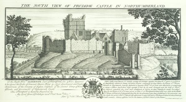 PRUDHOE CASTLE, Northumberland. 'The South View of Prudhoe Castle in Northumberland' engraving by Samuel and Nathaniel Buck, 1728