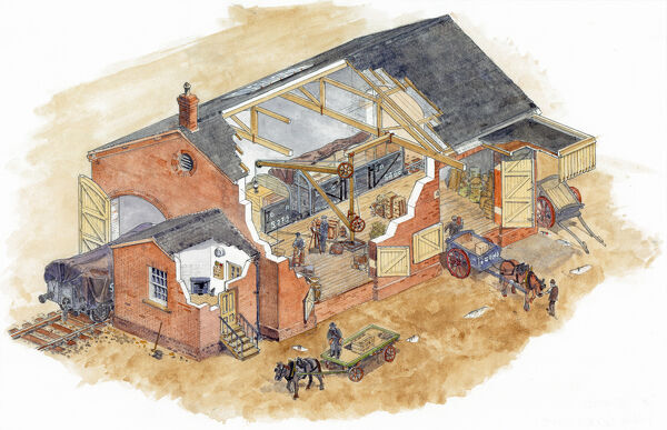A cut-away reconstruction drawing, by Allan T. Adams, of the railway goods shed at Rainham, Medway, in the 1860s